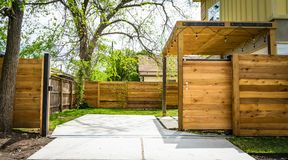 Photo of Opened Brown Wooden Sliding House Gate Royalty Free Stock Photos