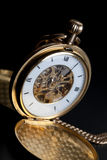 Photo of opened old vintage pocket clock Royalty Free Stock Photos