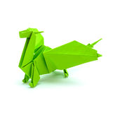 Photo of origami green dragon isolated on white background Stock Photo