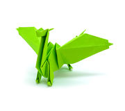 Photo of origami green dragon isolated on white background Stock Images