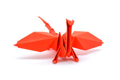 Photo of origami red dragon isolated on white background Stock Photography