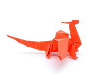 Photo of origami red dragon isolated on white background Royalty Free Stock Images