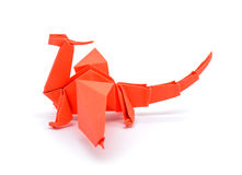 Photo of origami red dragon isolated on white background Royalty Free Stock Image