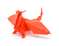 Photo of origami red dragon isolated on white background Stock Photos