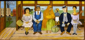 Photo of the original painting `The Bus` by Frida Kahlo. Frameless stock photography