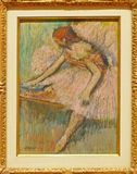 Photo of the original painting `Pink Dancer` by Edgar Degas. One of the treasures of MoMA, New York royalty free stock photography