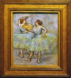 Photo of the original painting `Two Dancers` by Edgar Degas. One of the treasures of Albertina Museum in Vienna, Austria royalty free stock photo