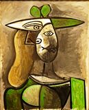 Photo of the original painting `Woman in a Green Hat` by Pablo Picasso, frameless. stock photo