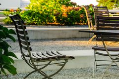 Photo of a outdoor coffee tables that can be used for mock ups, design, art and patterns, background and textures. stock photos