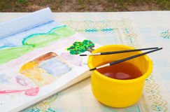 Photo of paint brushes. Artist Stock Photo