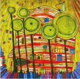 Photo of the painting: `Blobs Grow in Beloved Gardens` by Hundertwasser stock images