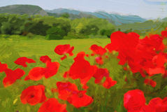 Photo painting. Landscape with poppies royalty free stock image