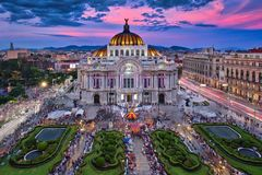 Bellas Artes Palace & Sunset. Photo of the Palacio of Bellas Artes at the sunset time Royalty Free Stock Photography