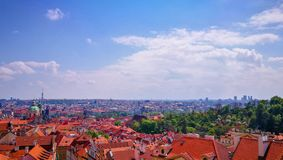 Panorama view of Prague in spring, Czech Republic royalty free stock image