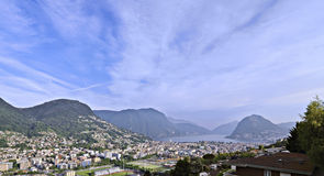 Photo panoramic of lake lugano Royalty Free Stock Photo