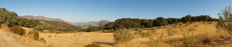 Photo panoramique d'horizontal de la sierra de Grazalema. Images stock