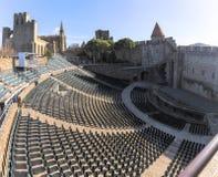 Photo panoramique de Carcassonne - théâtre médiéval antique Image stock