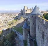 Photo panoramique de Carcassonne - théâtre médiéval antique Photos stock