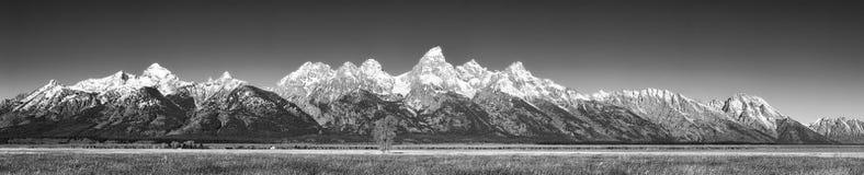 Photo panoramique de la chaîne de montagne grande de Teton photos stock
