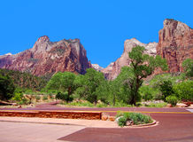 Photo panoramique de parc national de Zion, Utah, Etats-Unis Images stock