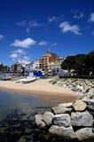 Photo panoramique de plage de ville de sable de Palamos en Costa Brava, Catalogne, Espagne Image libre de droits