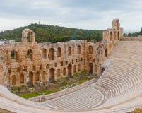 Photo panoramique de théâtre antique d'Acropole Images libres de droits