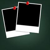 Photo paper and red push pin Royalty Free Stock Photos