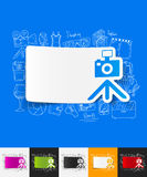 Photo paper sticker with hand drawn elements. Hand drawn simple elements with photo paper sticker shadow Royalty Free Stock Image