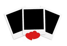 Photo papers card and red hearts isolated Royalty Free Stock Photography