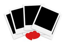Photo papers card and red hearts isolated Stock Image
