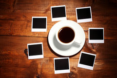 Photo papers with coffee Stock Photos