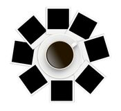 Photo papers and coffee cup on white Stock Photos
