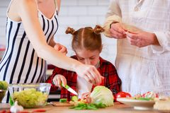 Photo of parents with daughter cooking food in kitchen royalty free stock images