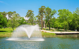 Photo of park in Debrecen, Hungary. Photo of a fountain in the park. Debrecen, Hungary royalty free stock photos
