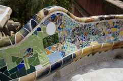 Park Guell Tile Work in Barcelona. Photo of park guell tile work in barcelona spain. This park was designed by architect antonio gaudi stock image