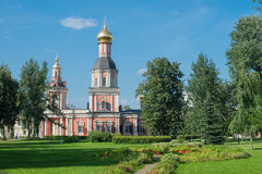 Photo of park in Temple-Patriarchal Compound Ho. August 12, 2013: Photo of park in Temple-Patriarchal Compound Holy Trinity. Moscow Royalty Free Stock Images