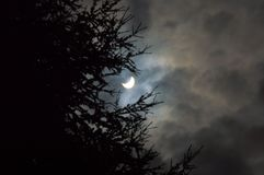 Partial solar eclipse clouds royalty free stock photography