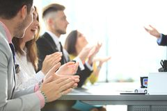 Photo of partners clapping hands after business seminar. Professional education, work meeting, presentation or coaching stock photos