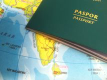 Passport and Map, Illustration for Vacation or Business Trip. Photo Passport and Map, Illustration for Vacation or Business Trip royalty free stock image