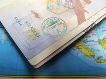 Passport and Map, Illustration for Vacation or Business Trip. Photo Passport and Map, Illustration for Vacation or Business Trip stock photo