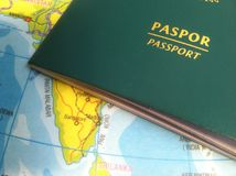 Passport and Map, Illustration for Vacation or Business Trip. Photo Passport and Map, Illustration for Vacation or Business Trip royalty free stock photo