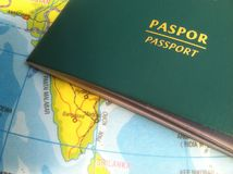 Passport and Map, Illustration for Vacation or Business Trip. Photo Passport and Map, Illustration for Vacation or Business Trip royalty free stock photography