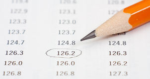 Photo of pencil on a table with nimbers Royalty Free Stock Photo