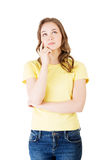 Photo of pensive young student woman Royalty Free Stock Photography