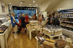 People in a Candy Store in Barcelona royalty free stock photos