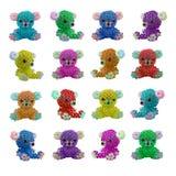 Photo perlée multicolore d'isolement de jouets d'ours Images libres de droits