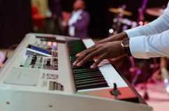 Photo of a Person Playing Electronic Keyboard Royalty Free Stock Photo