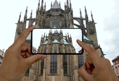 Photo by phone. St. Vitus Cathedral in Prague, Czech Republic.  royalty free stock photos