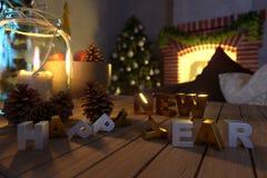 Photo photohappy de composition en plan rapproché de fond d'année et de Noël de composition en plan rapproché de fond de bonne an Images stock