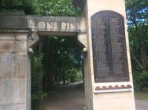 Stone park entrance stock photo
